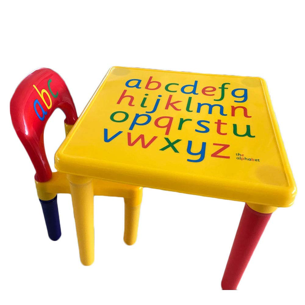GHP Kids 17.72''x17.72''x16.14'' Yellow & Red Non-Toxic Plastic Activity Table & Chair