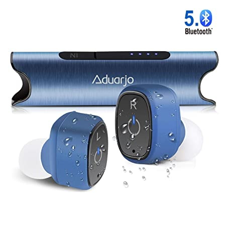 Wireless Earbuds Bluetooth 5.0, Aduarjo True Wireless Headphones Noise Cancelling Portable IPX7 Waterproof Mini Earphone with Charging Case Premium Deep Stereo Bass Built in Mic for Running Sport