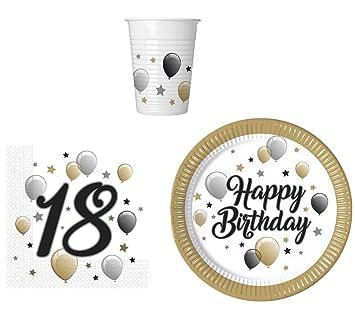 PROCOS Fiesta de Juego de vajilla para 18 cumpleaños – Platos, Vasos y servilletas