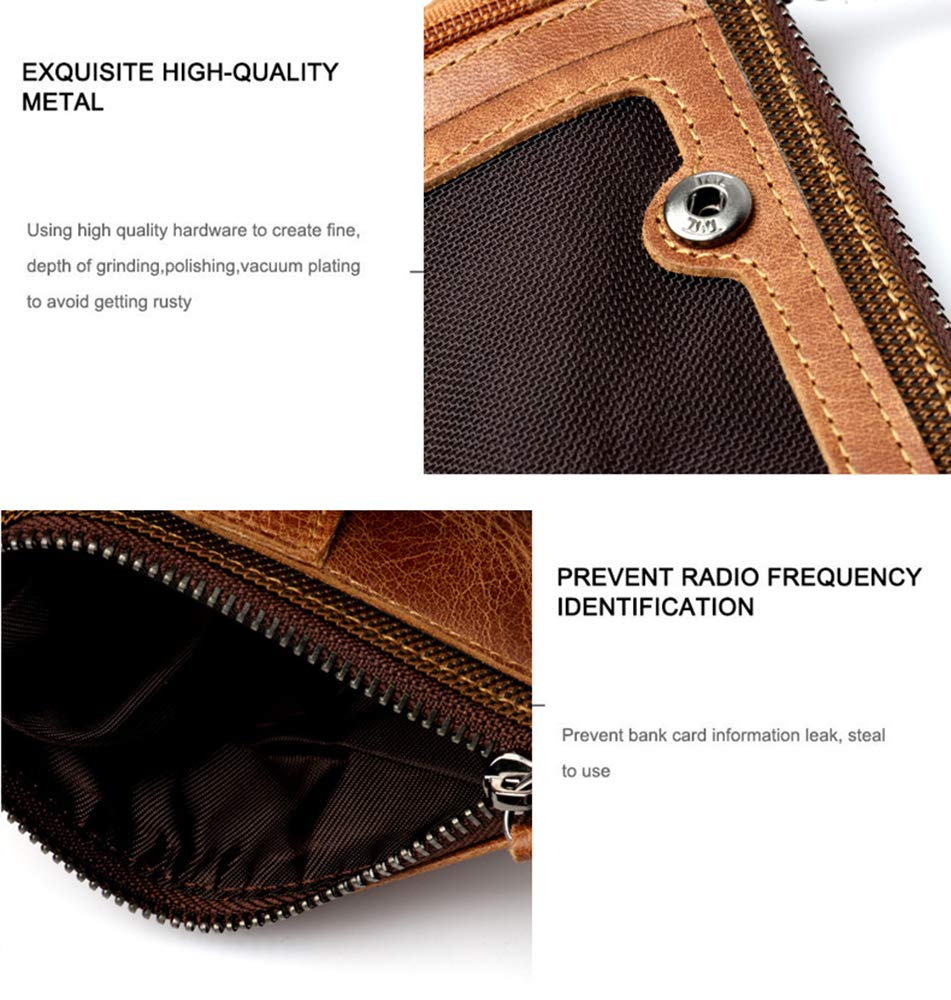 LLXY Mens Real Soft Leather Multifunction Wallet,Brown