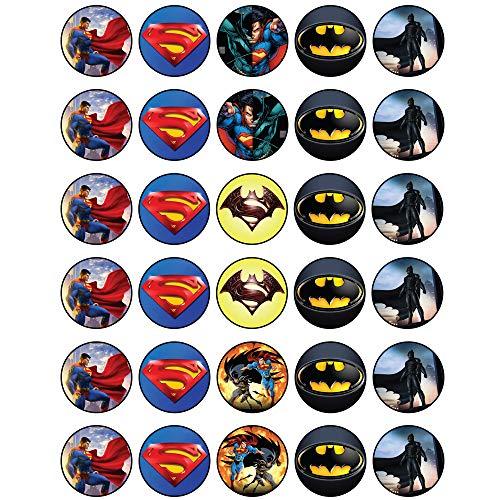 30 x Edible Cupcake Toppers - Superman VS