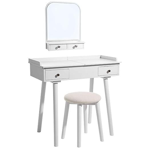 Songmics - Mesa de tocador moderna con espejo de pared, parte ...