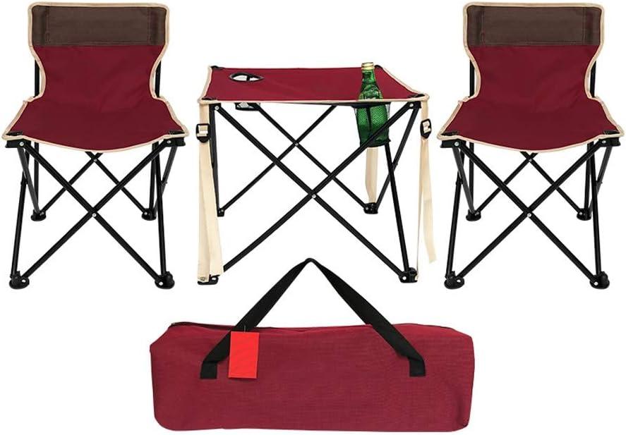 El Combinación de mesa plegable portátil para barbacoa al aire libre, mesa y silla plegables oxford duraderas de color rojo, mesa plegable con soporte de aleación de aluminio negro de alta resistencia: