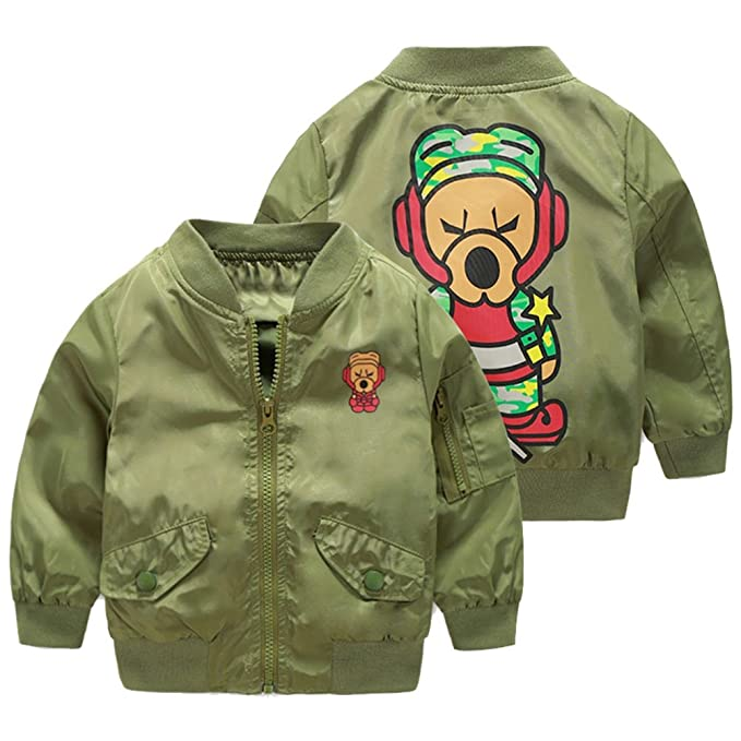 0842c17e5 UWESPRING Boys  Trendy Cartoon Dog Print Bomber Jackets Kids Casual ...