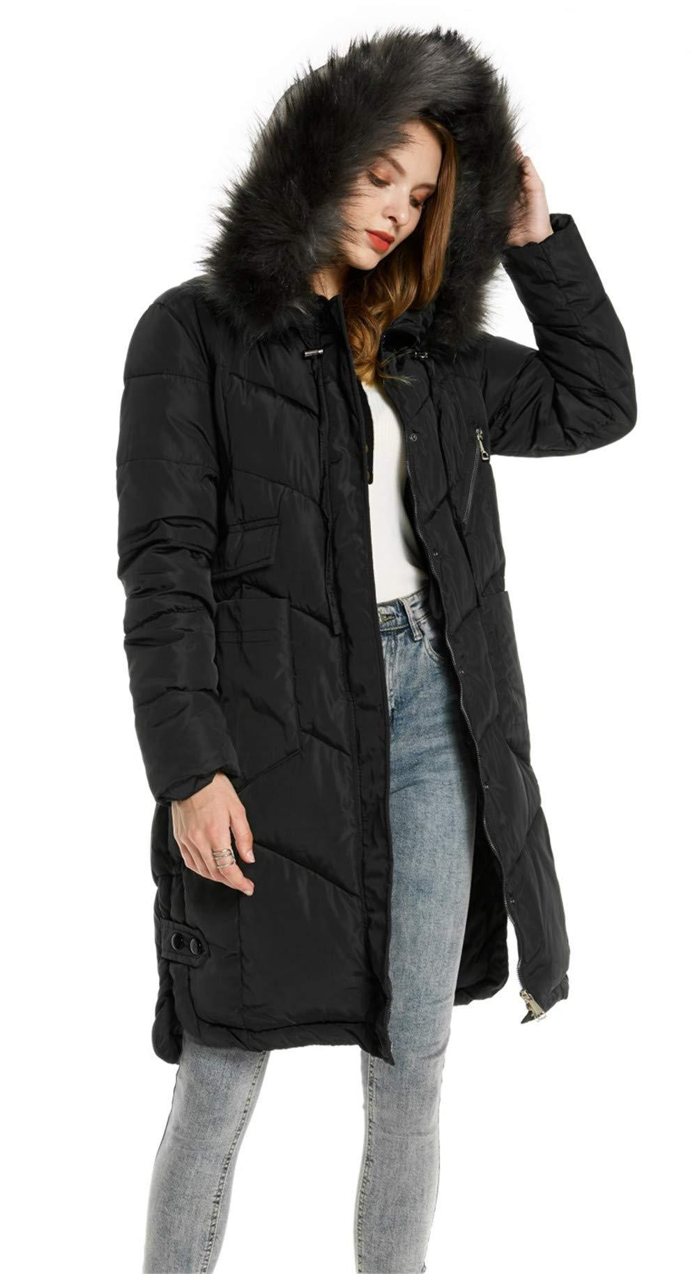 6633e4138de76 Doudoune Femme Chaud Parka Manteau en Coton Hiver Blouson Fourrure avec  Capuche Rembourré Veste product image