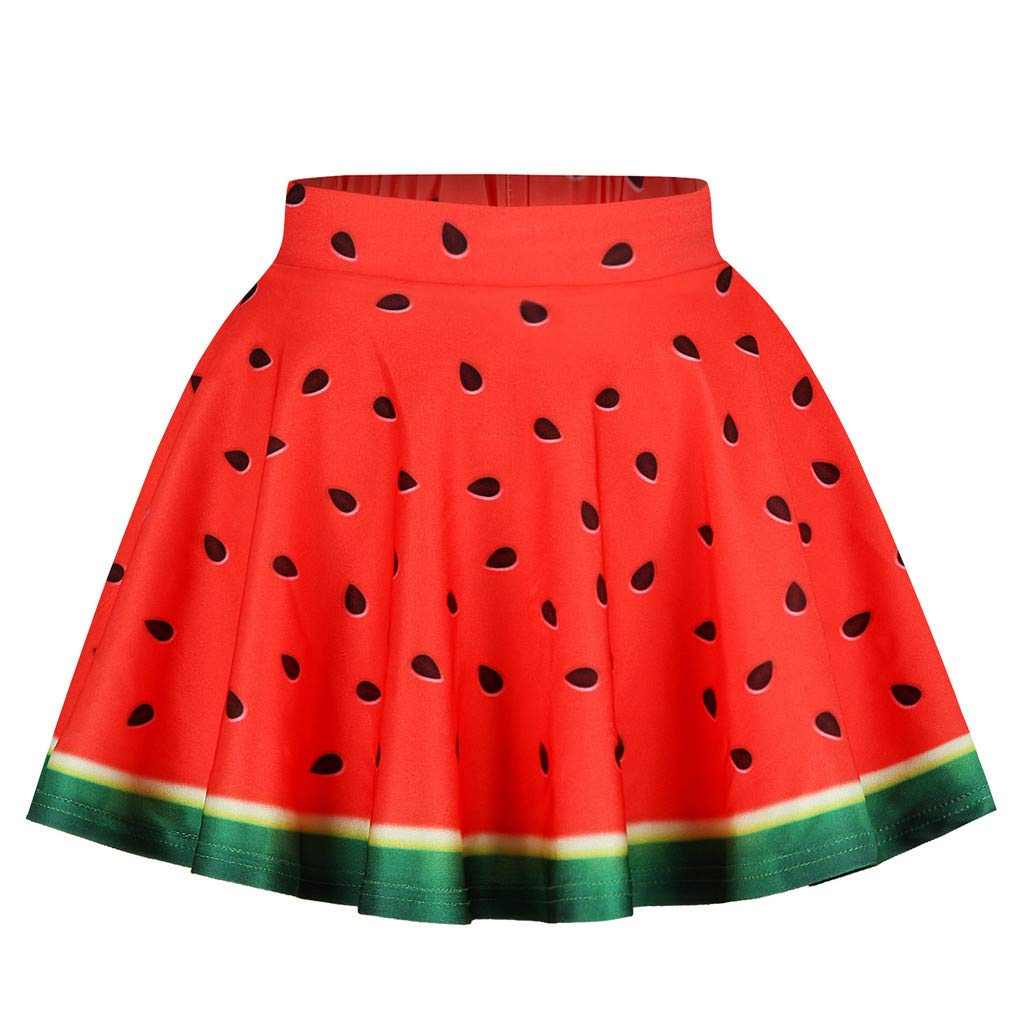 Ice Cream Girls 3D Print Skirts Stylish Teen Girls Elastic Waist Pleated Skirt Casual Party Sundress