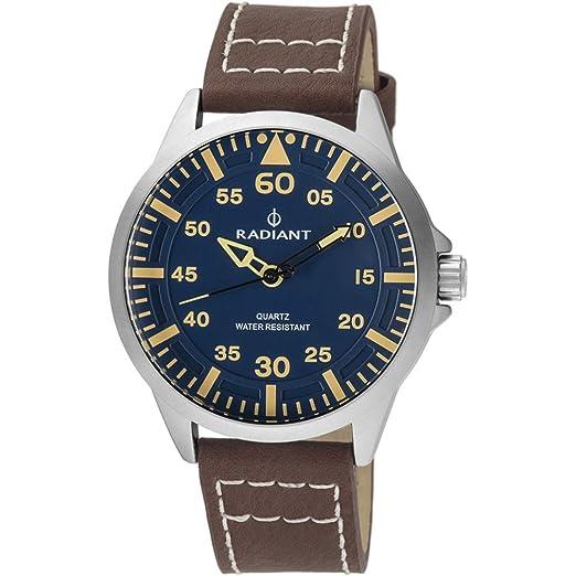 Reloj Radiant para Hombre con Correa Marron y Pantalla en Azul RA476603: Amazon.es: Relojes