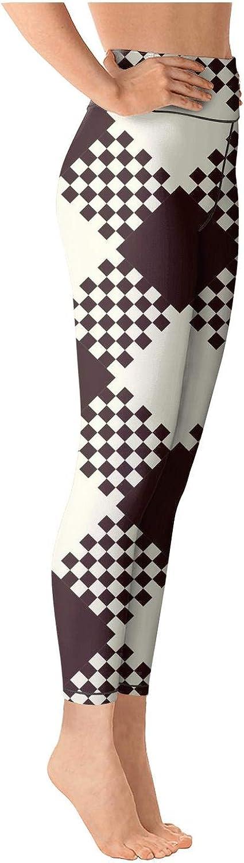 Attractive Women High Waist Breathable Brown White British Plaid Lattice Tights Active Yoga Pants Leggings