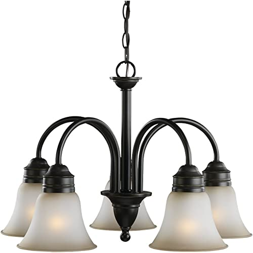 Sea Gull Lighting 31851-782 Chandelier with Smokey Amber Glass Shades, Heirloom Bronze Finish
