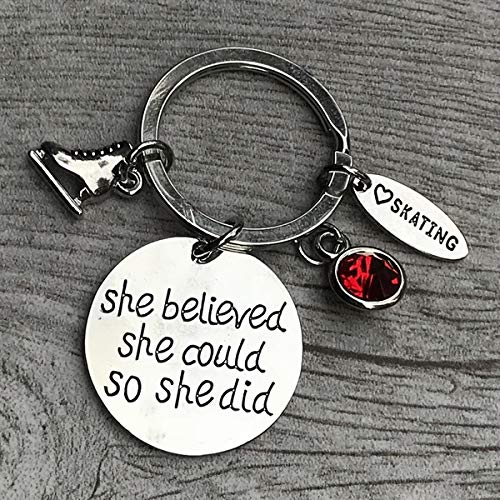 Personalized Figure Skating She Believed She Could So She Did Keychain with Birthstone Charm, Custom Figure Skake Jewelry, Ice Skating Gift Ideas