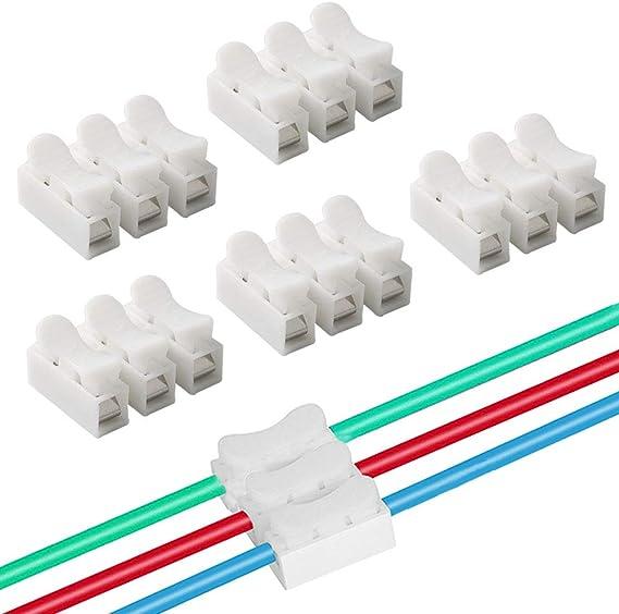 QitinDasen 40Pcs CH3 Connecteur Ressort Rapide Connecteur Ressort Serre-Fils Bornier Connexion Rapide Connecteur Fils Printemps pour Fil de Lumi/ère de LED Bande