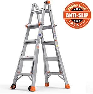 TACKLIFE Ladder 17-Foot Aluminum Multi-Purpose Extension Ladder with 300lbs Load Capacity Non-Slip Rubber feet with 2 Durable Wheels Under Easy to Carry LD01A