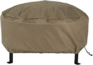 Sunnydaze Outdoor Round Fire Pit Cover - Weather Resistant and Heavy Duty Khaki 300D Polyester with Drawstring Closure and PVC Back - 48-Inch