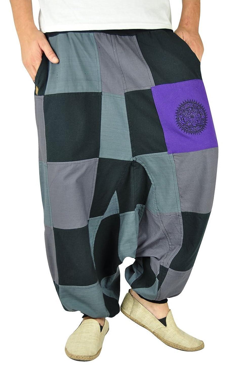 ebc572cc2c Pantalones bombachos para hombres y mujeres para voltear con patrones de  parches y lado beige como