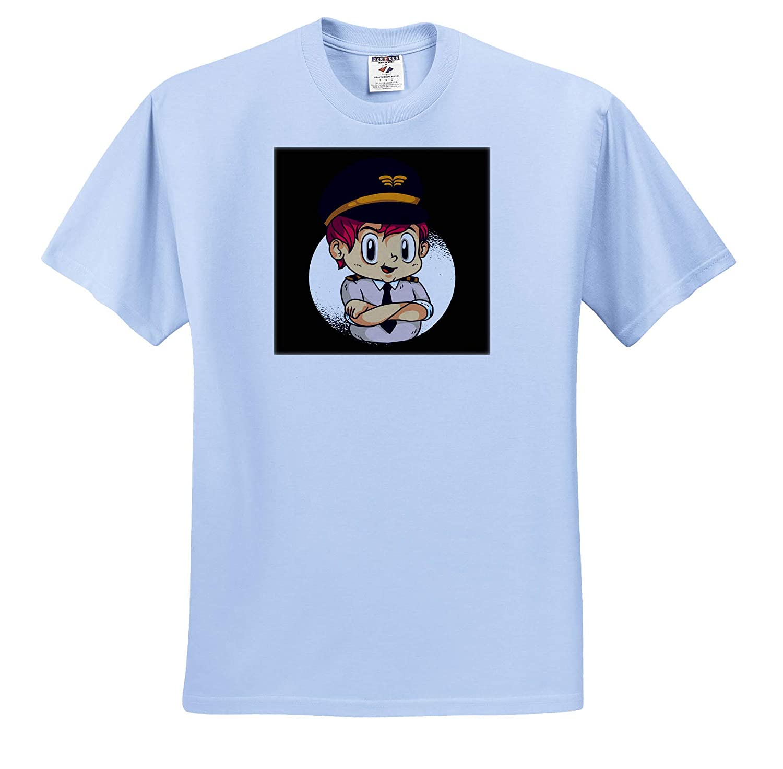 3dRose Sven Herkenrath Anime Anime Manga Child with Pilot Uniform Japan Japanese Adult T-Shirt XL ts/_316089