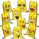 "Emoji Party Favor Bags for Kids Birthday - 10 Pack Emoji Drawstring Backpack Bags Goodie Bags for Kids Birthday Party Supplies for Girls and Boys (16.5"" x 13"")"