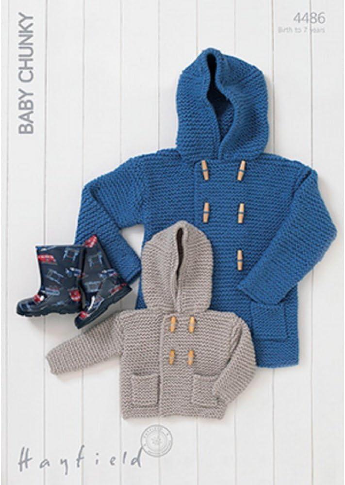 Hayfield Baby Chunky Hooded Boy's Duffle Coat Knitting Pattern 4486