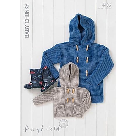 631932973 Hayfield Baby Chunky Hooded Boy s Duffle Coat Knitting Pattern 4486 ...