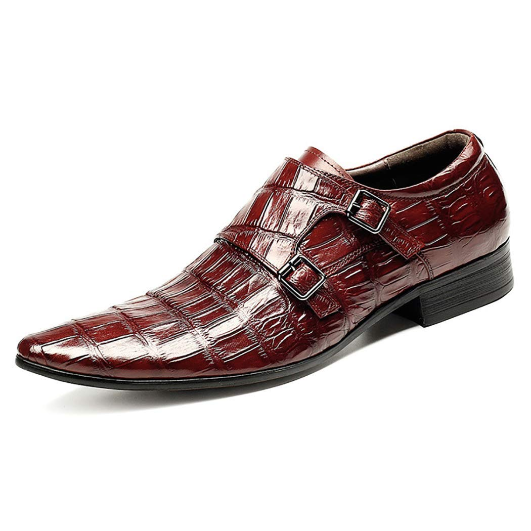 Brown Haiyao Men's Leather shoes Crocodile Pattern Business Pointed Head Metal Buckle shoes Autumn Wedding shoes Single shoes Gentleman Party Dress shoes