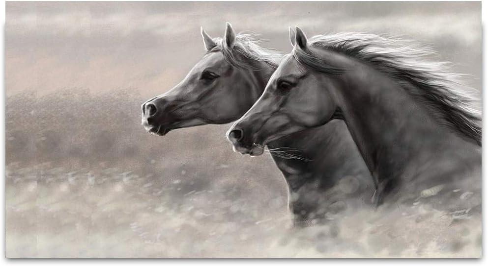 YSHUO - Dos caballos de carreras sobre lienzo, cuadros con animales, imágenes para salón, impresiones sobre lienzo, decoración moderna para la casa, sin marco