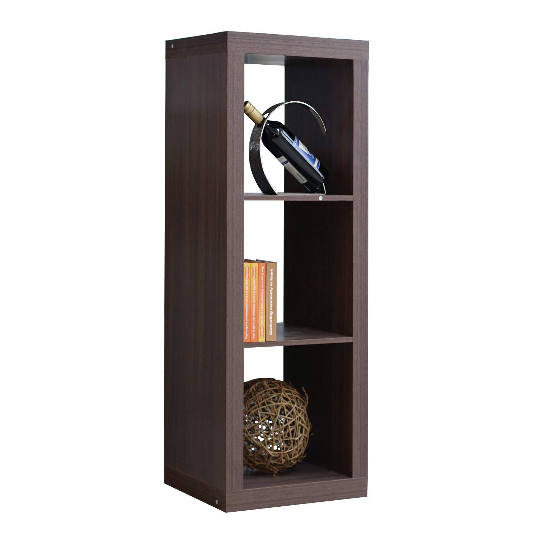 DlandHome Storage Cube Organizer, 3-Cube (1X3) Home & Garden & Office Storage Bookcases Wooden, LHGZ301-B Dark Brown, 1 Pack