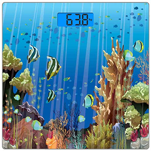 - Precision Digital Body Weight Scale Marine Ultra Slim Tempered Glass Bathroom Scale Accurate Weight Measurements,Majestic Universe Deep Underwater World Exotic Coral Reef with Sea Creatures Nature,Mul