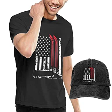 Amazon.com  Trucker American Flag Truck Driver Mens Cotton Round Neck  Short-Sleeve T-Shirt Tees and Denim Hat Combo Set  Clothing 5baad57eff95