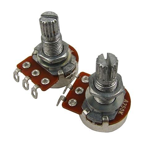 IKN 2pcs A250k L18mm Potenciómetro del tono de la guitarra del potenciómetro del mini pot del