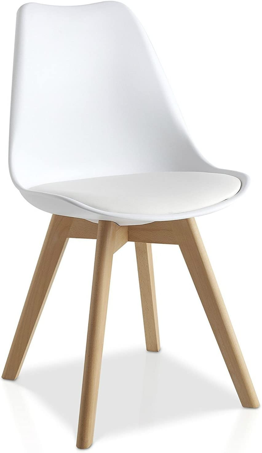Mmilo Tulip Pyramid Dining Chair Office Chair With Solid Wood Legs PU Faux Leather Cushion (White)