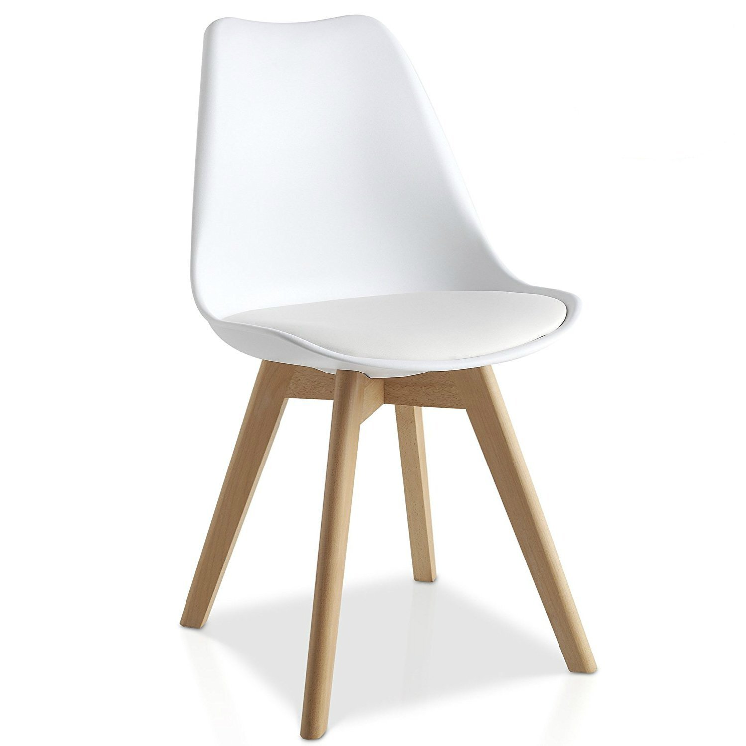 Mmilo Tulip Pyramid Dining Chair Office Chair With Solid Wood Legs Pu Faux Leather Cushion White