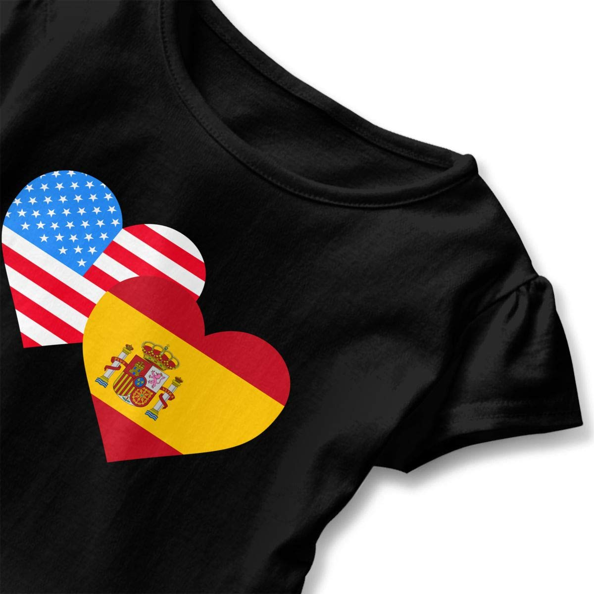 HYBDX9T Little Girls American Spain Heart Flag Funny Short Sleeve Cotton T Shirts Basic Tops Tee Clothes