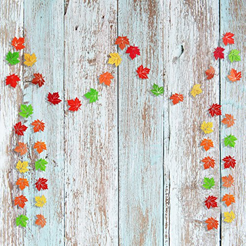 TMYSP 3 String Autumn Leaves Artificial Paper Garland Fall Wedding Party Decoration Artificial Maple Leaf String Home Banner Fall in Love Decor Rustic Wedding Party