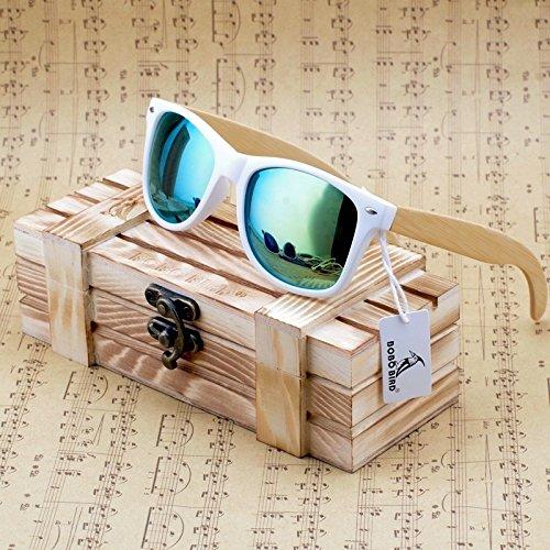 Wooden Bamboo Wayfarer Sunglasses (White) (Green Lens)