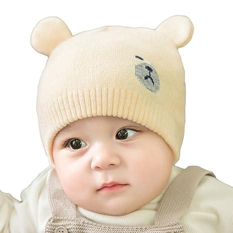 YeahiBaby Chapeau Hiver Bébé Casquette Bonnet Chaud Chapeaux De Bonnet  Tricoté pour Bébé Garçon Fille 00099dd047a