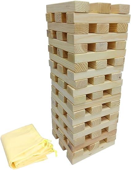 Funmate Torre de bloques de madera gigante, Tumble Tower, Max a 1,8 m de altura: Amazon.es: Juguetes y juegos