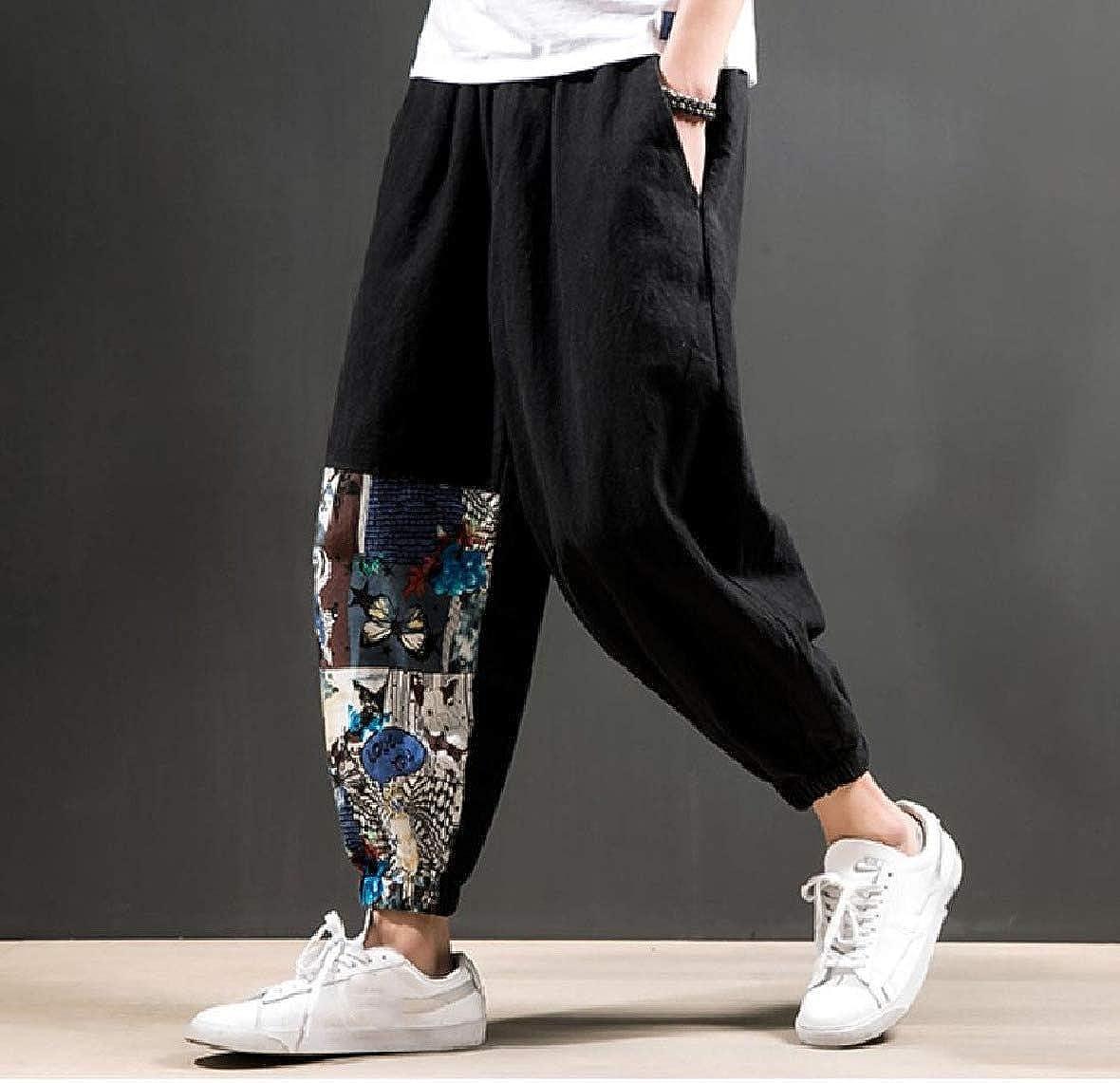 HEFASDM Mens Beam Foot Trousers Linen Waistband Stretchy Stitch Tenths Pants