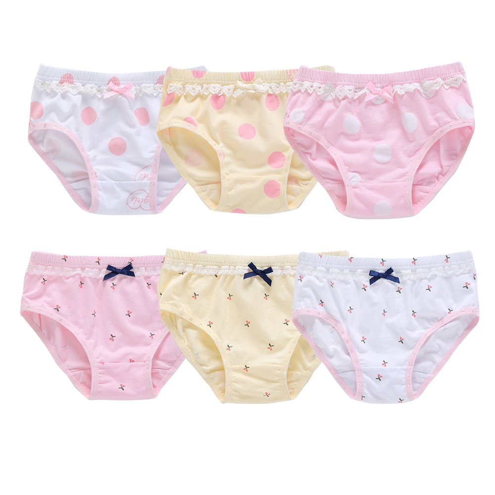 Orinery Lace Baby and Toddler Underwear Cotton Girls Assorted Briefs(Pack of 6) (4-5 Years Old)
