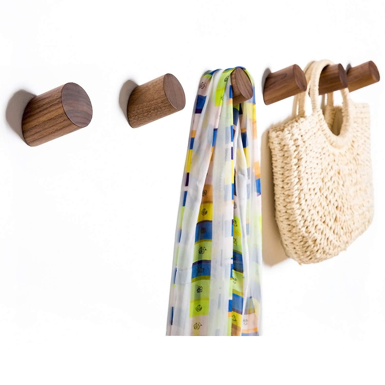 Wall Hooks, Felidio Natural Wood Coat Hooks Wall Mounted (Pack of 2pcs) - Rustic Wall Coat Rack Hat Hooks Robe Hook Entryway Wall Hangers Heavy Duty Hooks for Hanging Towels (Black Walnut) by Felidio