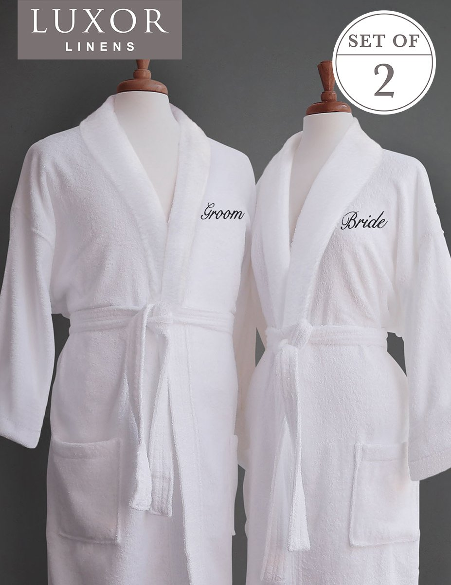 Luxor Linens Couple's Terry Cloth Bathrobe Egyptian Cotton Unisex One Size Fits Most Luxurious Soft Plush Elegant Script Embroider Perfect Wedding Gift San Marco (Bride/Groom)