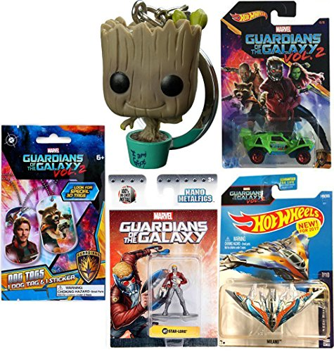 James Martin Dog Costume (Marvel Guardians of the Galaxy Starlord Hot Wheels Cars Movie Vol. 2 Exclusive + Metal Mini Figure & Ship Milano #149 & Pocket Pop! Bobble Head Keychain Collectible + Dog Tag + Sticker Blind Bag)