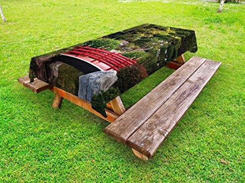 Lunarable Japanese Outdoor Tablecloth, Bridge Over Pond in Japanese Garden Monte Carlo Monaco with Trees and Plants, Decorative Washable Picnic Table Cloth, 58 X 84 Inches, Red and Green