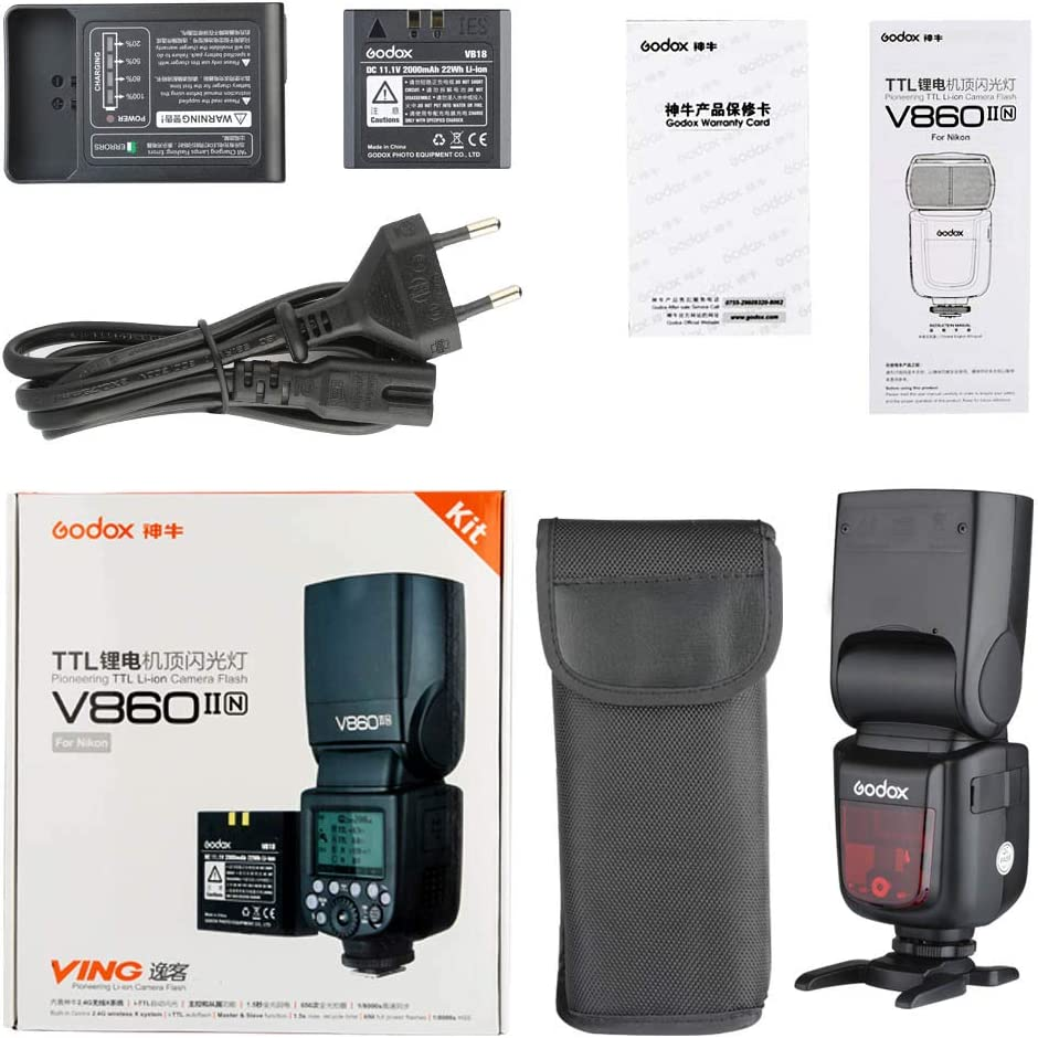Godox Ving V860II-N Flash de la cámara Speedlite, TTL 2.4G HSS ...