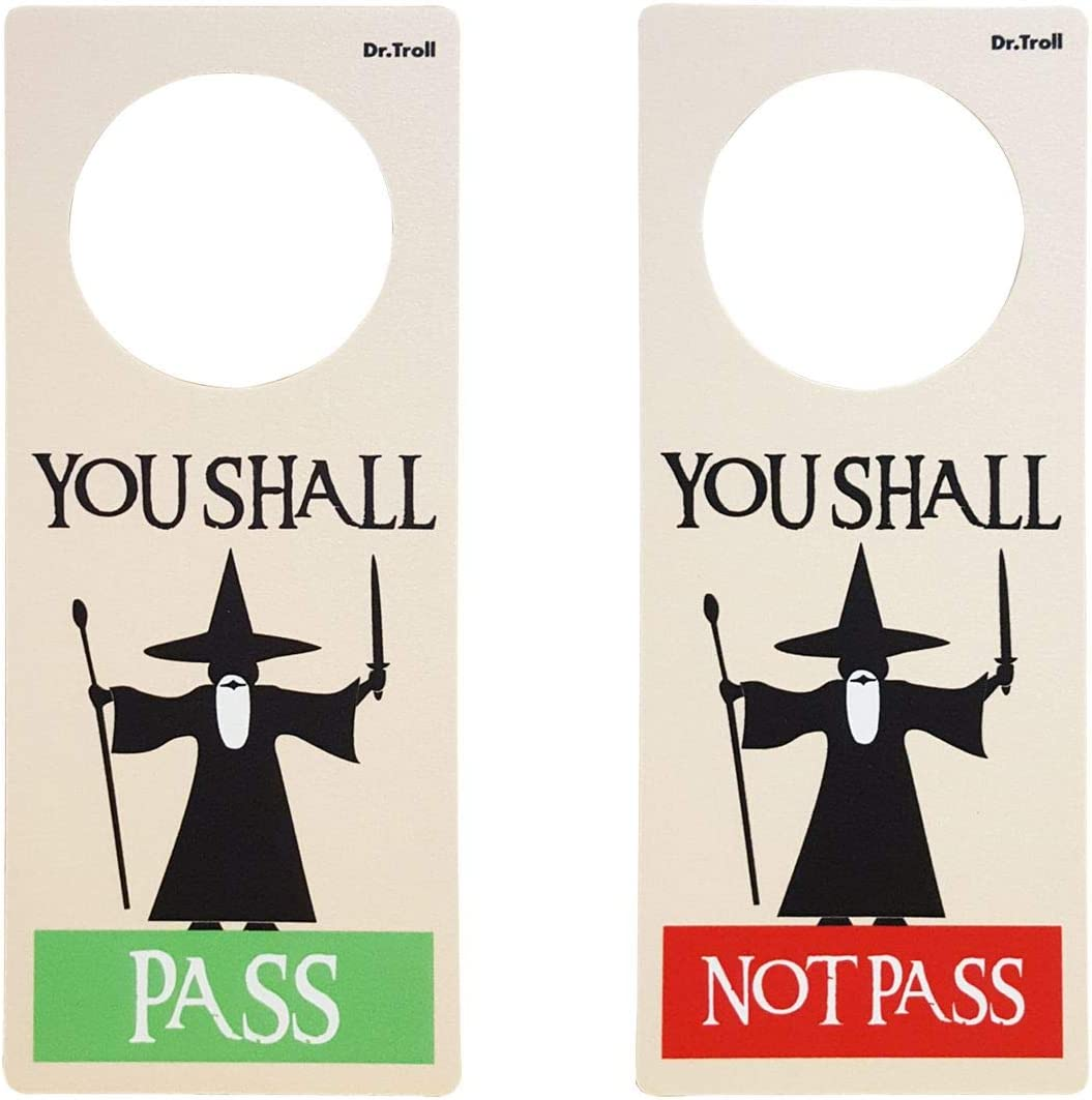 Dr Troll Poming Cartel No Molestar Colgador Para Pomo Puertas Habitación Tipo Do Not Disturb Gandalf You Shall Pass You Shall Not Pass Amazon Es Hogar