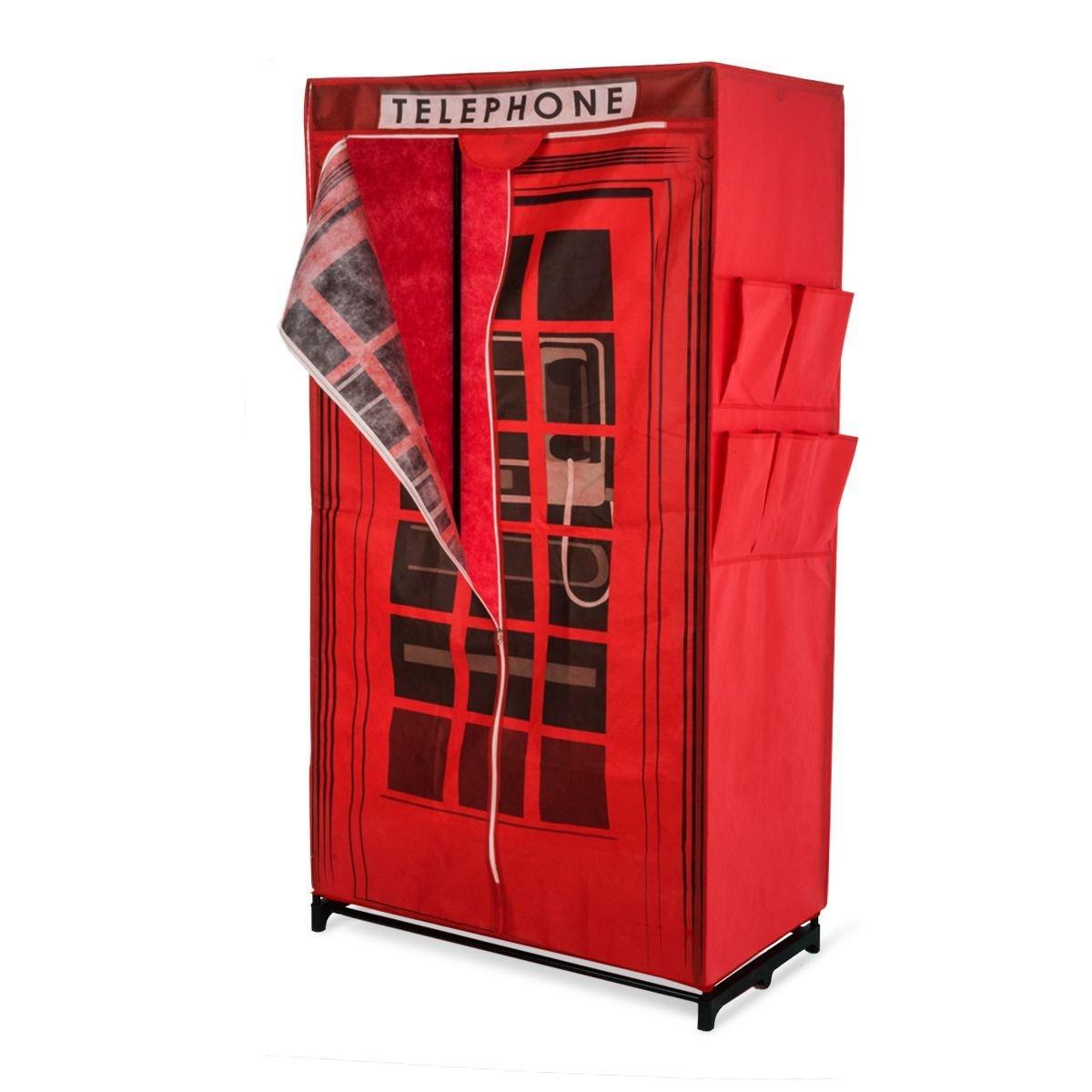 Armoire Penderie En Tissu Décor Cabine Téléphonique Anglaise Rouge Larg.87  X Prof.45 X Haut.157 Env.: Amazon.fr: Cuisine U0026 Maison