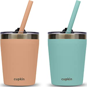 Stackable Stainless Steel Kids Cups (Toddler Cup Transition from Sippy Cups) - Set of (2) 8 oz Insulated Tumblers, 2 Non BPA Lids + 2 Food Grade Reusable Silicone Straws for Toddlers (Peach + Teal)