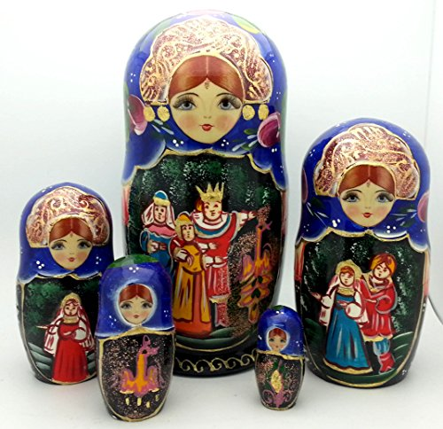 Nesting dolls Russian Hand Carved Hand Painted 5 piece Set / Firebird fairy tale