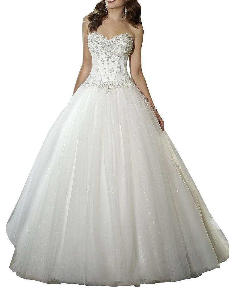 YIPEISHA Sweetheart Beaded Corset Bodice Classic Tulle Wedding Dress At Amazon Womens Clothing Store