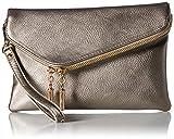 Elphis Fashion Evening Envelope Fold Over Clutch Wristlet Purse Cross Body Bag (023-Light Pewter)