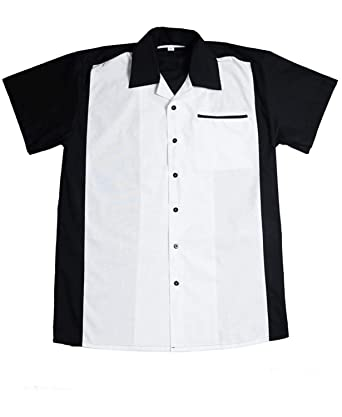 c537e4735c464c 50er Jahre Panel Rockabilly Lounge Shirt Bowling Hemd Schwarz Weiß ...