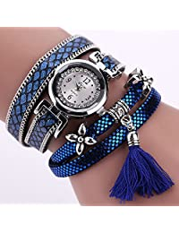 Womens Bracelet Watches COOKI Clearance Ladies Watches Female Watches on Sale Leather Watch-Q53 (Blue)